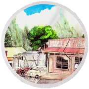 Round Beach Towel featuring the painting Auggies Pool Hall by Eric Samuelson