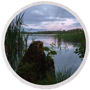 August Evening At The Lake Enajarvi Round Beach Towel