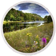 Round Beach Towel featuring the photograph August Flowers On The Pond by David Patterson