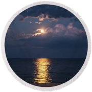 August Full Moon Round Beach Towel
