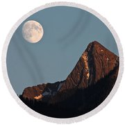 August Moon Over Loki Round Beach Towel by Cathie Douglas