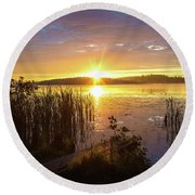 August Morning At The Lake Enajarvi Round Beach Towel