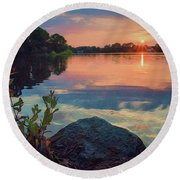 August Sunset Round Beach Towel