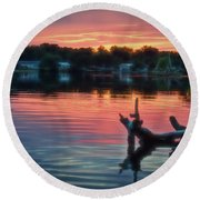 August Sunset Glow Round Beach Towel