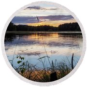 August Sunset In Kangaslampi Round Beach Towel