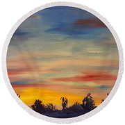 August Sunset In Sw Montana Round Beach Towel