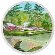 Augusta National Golf Course 12th Hole Round Beach Towel
