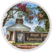 Augusta - Saint Paul's Episcopal  Round Beach Towel by Stephen Stookey