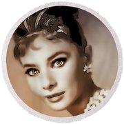 Aurdrey Hepburn - Famous Actress Round Beach Towel