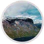Aurlandsfjorden Panorama Revisited Round Beach Towel