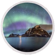 Aurora Above Reinefjord Round Beach Towel by Alex Conu