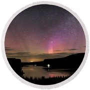 Round Beach Towel featuring the photograph Aurora At Lake Billy Chinook by Cat Connor