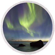 Aurora At Uttakleiv Round Beach Towel by Alex Conu