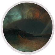 Round Beach Towel featuring the painting Aurora Borealis by Frederic Edwin Church
