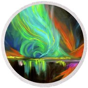 Aurora Borealis Round Beach Towel by Jenny Lee