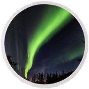 Aurora Borealis, Norther Lights In Denali National Park Round Beach Towel