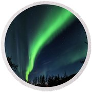 Aurora Borealis Northern Lights At Kantishna In Denali National Park Round Beach Towel by Brenda Jacobs