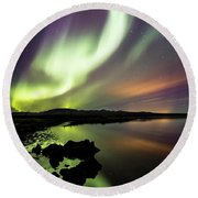 Aurora Borealis Over Thinvellir Round Beach Towel