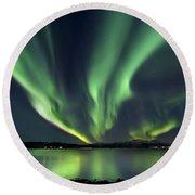 Aurora Borealis Over Tjeldsundet Round Beach Towel