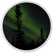 Aurora Borealis The Northern Lights Interior Alaska Round Beach Towel