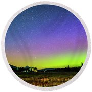 Round Beach Towel featuring the photograph Aurora In Sisters by Cat Connor