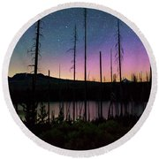 Round Beach Towel featuring the photograph Aurora Reflections by Cat Connor