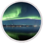 Auroras Over Langoya Island Round Beach Towel