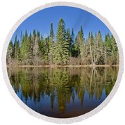 Ausable Reflections 1768 Round Beach Towel by Michael Peychich