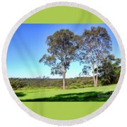 Round Beach Towel featuring the photograph Aussie Gum Tree Landscape By Kaye Menner by Kaye Menner