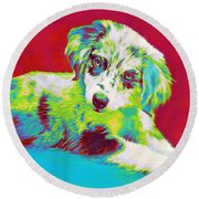 Aussie Puppy Round Beach Towel