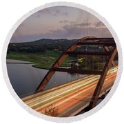Austin 360 Bridge At Night Round Beach Towel