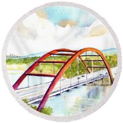 Austin 360 Bridge - Pennybacker Round Beach Towel