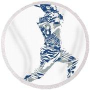 Austin Barnes Los Angeles Dodgers Pixel Art 1 Round Beach Towel