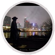 Austin Hike And Bike Trail - Iconic Austin Statue Stevie Ray Vaughn - One Greeting Card Poster Round Beach Towel