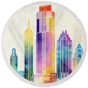 Austin Landmarks Watercolor Poster Round Beach Towel