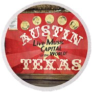 Austin Live Music Round Beach Towel