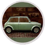 Austin Mini Cooper Mixed Media Round Beach Towel by Paul Meijering