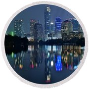 Austin Night Reflection Round Beach Towel by Frozen in Time Fine Art Photography