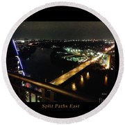 Round Beach Towel featuring the photograph Austin Nights Split Paths East by Felipe Adan Lerma