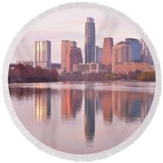Austin Seasonal Reflection Round Beach Towel by Frozen in Time Fine Art Photography
