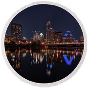 Austin Skyline At Night Round Beach Towel by Todd Aaron