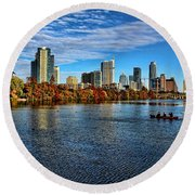 Austin Skyline From Lou Neff Point Round Beach Towel by Judy Vincent