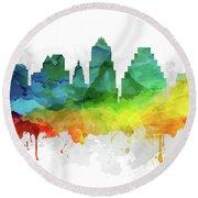 Austin Skyline Mmr-ustxau05 Round Beach Towel by Aged Pixel