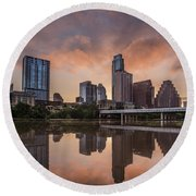 Austin Skyline Sunrise Reflection Round Beach Towel