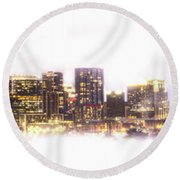 Austin Texas Skyline With White Blackground  Round Beach Towel