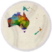 Australia Continent Watercolor Map Round Beach Towel
