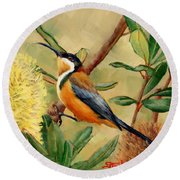 Australian Eastern Spinebill  Round Beach Towel
