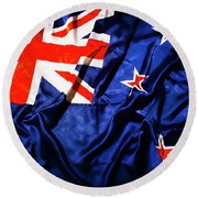 New Zealand Flag Art Round Beach Towel