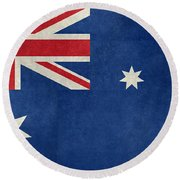 Australian Flag Vintage Retro Style Round Beach Towel by Bruce Stanfield