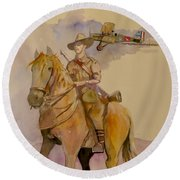 Round Beach Towel featuring the painting Australian Light Horse Regiment. by Ray Agius